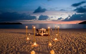 Picture beach, the ocean, wine, romance, the evening, lights, dinner