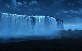 Picture stars, clouds, night, waterfall, art, haze