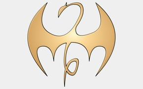 Picture golden, logo, white, dragon, fon, Marvel comic, Iron Fist