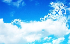 Picture the sky, clouds, strips, strip, patterns, flat figures, white, butterfly, blue