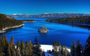 Picture trees, lake, CA, USA, Bank, Lake Tahoe, lake Tahoe, mountain range Sierra Nevada, fresh