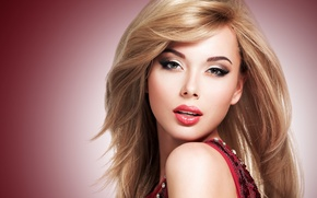 Picture look, background, makeup, dress, blonde, lips