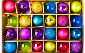 Picture decoration, box, balls, toys, New Year, Christmas, Christmas, colorful, holidays, New Year, Christmas