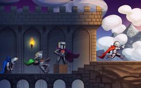 Picture clouds, bridge, castle, box, the game, armor, art, box, cloak, knights, level, 2d platformer game