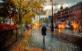 Picture girl, rain, umbrella, Saint Petersburg, October