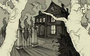 Picture house, figure, gloomy, The House