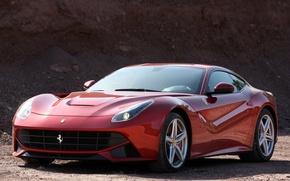 Picture red, background, Ferrari, Ferrari, supercar, the front, berlinetta, berlineta, F12, F12
