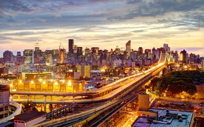 Picture Manhattan, the Queensboro bridge, skyscrapers, Queensboro Bridge, NYC, lighting, road, roof, the city, lights, the …
