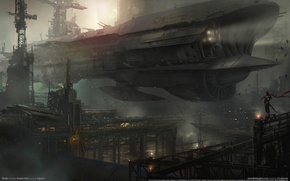 Picture the sky, birds, lights, ship, station, the evening, Doc, birds, evening, spaceship, game wallpapers, Strider