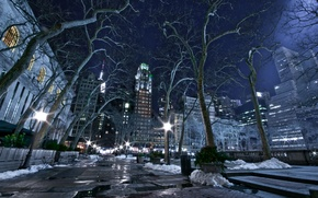 Picture winter, night, the city, lights, new York