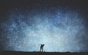 Picture space, stars, silhouette, male, The Milky Way, secrets