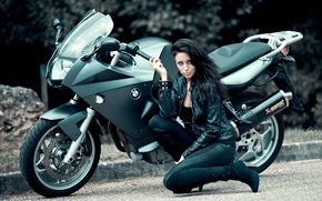 Picture girl, pose, motorcycle