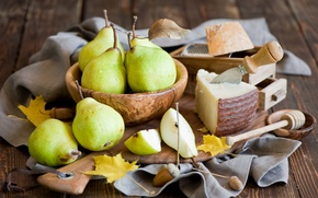 Picture autumn, leaves, food, yellow, cheese, harvest, knife, dishes, fruit, still life, pear, Anna Verdina