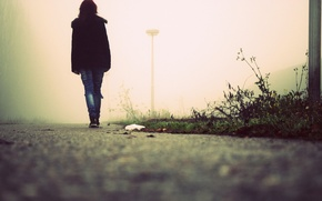 Picture road, girl, fog, I walk a lonely road
