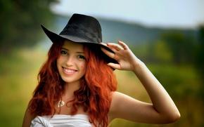 Picture smile, portrait, hat, redhead, Ira