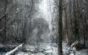 Wallpaper figure, monster, snow, forest