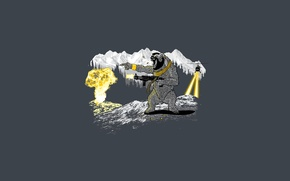Picture mountains, the explosion, weapons, bear, helicopter, gun, bear, mountain