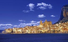 Picture rock, sea, landscape, Italy, mountain, houses, church, Sicily, Cefalù