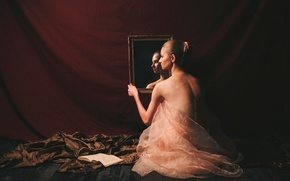 Picture mirror, girl, book