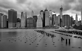 Picture the ocean, skyscrapers, USA, black and white photo, New York, Downtown