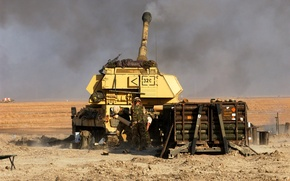 Picture shot, soldiers, Howitzer