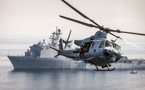 Picture ship, USA, helicopter, squad, multipurpose, 15th expeditionary, Bell UH-1Y Venom, marine corps