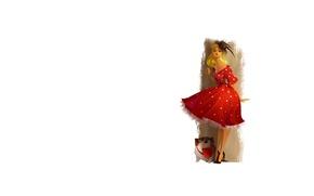 Picture girl, dress, bulldog, hat, hairstyle, basket, elegance
