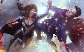 Picture blow, superman, cloak, superheroes, dc comics, synestra