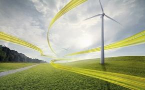Wallpaper yellow, tape, the wind, windmill
