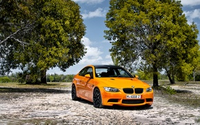 Picture the sky, clouds, trees, orange, BMW, BMW, E92, orange