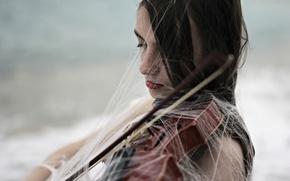 Picture girl, violin, web
