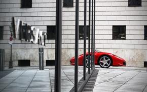 Picture the city, reflection, home, nose, Ferrari, red, ferrari 458 italia