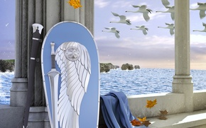 Wallpaper sword, belt, sword, The Lord Of The Rings, shield, cloak, swans, The Lord of the ...