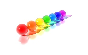 Wallpaper color, minimalism, White, Balls, Rainbow