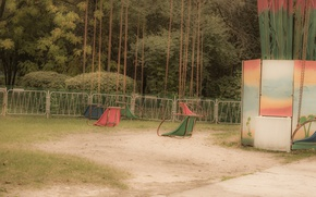 Picture amusement, swing, Park, retro