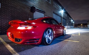 Wallpaper 911, Porsche, Red, Glow, Lights, Night, Turbo, Tuning, Wheels, Garage, Rims