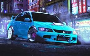 Picture Mitsubishi, Lancer, Japan, Evolution, Blue, Front, Future, Stance