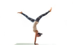 Picture girl, pose, yoga, Mat, balance