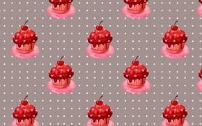 Picture cherry, cherry, berries, cupcake, cream, sweet