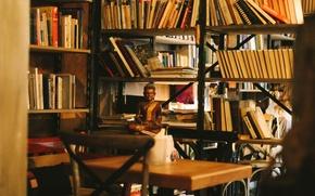 Picture place, books, coffee, bookshelves, Buddha, St. Petersburg, Magenta