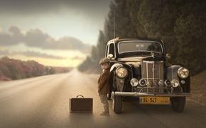 Picture road, machine, boy, suitcase