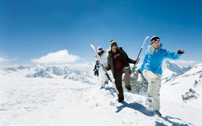 Wallpaper winter, the sky, snow, mountains, girls, mood, stay, ski, guys, hike, travel expenses
