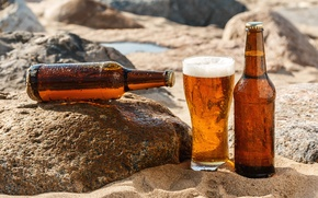 Picture sand, the sun, glass, stones, beer, bottle