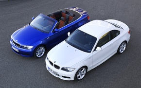 Picture Blue, White, BMW, BMW, 135i, Coupe, Two, The view from the top