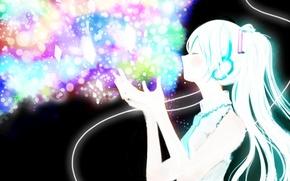 Picture girl, headphones, art, wire, crystals, vocaloid, hatsune miku, Vocaloid