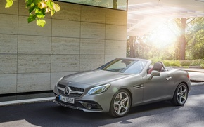 Picture the sun, Mercedes-Benz, AMG Line, SLC300, the car near the house