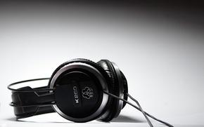Picture macro, music, black and white, headphones