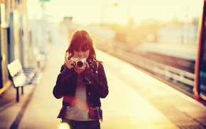 Wallpaper girl, cameras, mood
