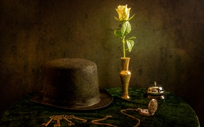 Picture flower, watch, hat, still life, keys, call