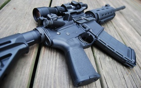 Picture wood, AR-15 rifle assault, Telescopic sight
